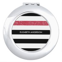 Modern Black White Stripes Red Glitter and Name Mirrors For Makeup