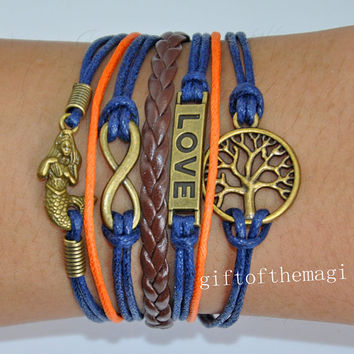 infinity karma,mermaid,love & wish treen Charm Bracelet Antique bronze-- wax cords braid Leather bracelet--the best friendship gift 630