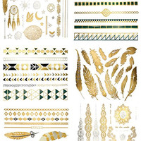 Premium Metallic Tattoos - 75+ Gold, Silver, Black & Shimmer Designs. Temporary Fake Jewelry Tattoos - Bracelets, Feathers, Wrist & Arm Bands, & More by Terra Tattoos™ (Chloe Collection)