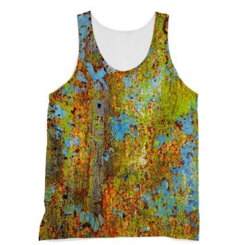 Blue and Lime Green Chipping Paint American Apparel Sublimation Vest