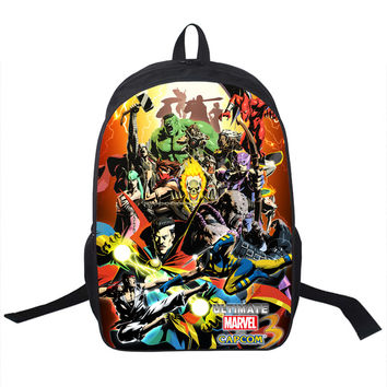 Spiderman Ghost Rider Hulk Ryu Marvel vs capcom Backpack Bag school unisex guys girls school teens adult college xbox playstation