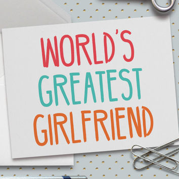 Cute Valentine Card, Cute Love Card, World's Greatest Girlfriend Card, 5.5 x 4.25 Inch (A2), Cards for Girlfriend, Cards for Her