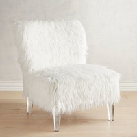 Addyson White Faux Fur Chair with Acrylic Legs
