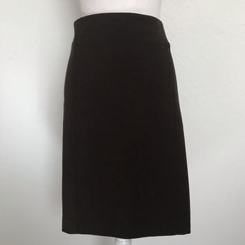 J JILL PONTE Women's Large Walnut Brown Stretch Straight Pencil Skirt