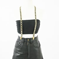 vintage 80s faux leather CHAIN suspenders