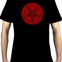 Solid Red Classic Satanic Baphomet Men's T-Shirt Occult Clothing