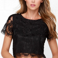Happy as a Glam Black Lace Crop Top