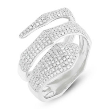 0.64ct 14k White Gold Diamond Pave Snake Ring