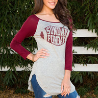 Sunday Funday Long Sleeve Top - Burgundy