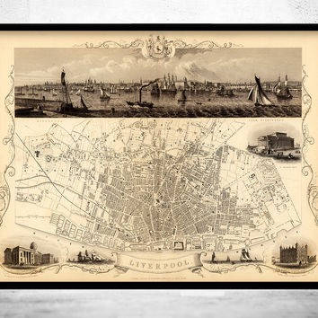 Vintage Map of Liverpool 1851