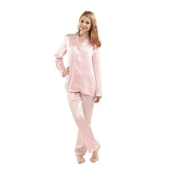 Luxuer Women's Handmade Pure Mulberry Silk Pajama Set Classic Luxury