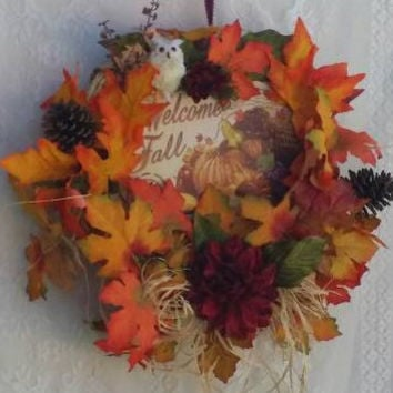 Owl Decoration, Beautiful Owl floral Wreath, Owl Fall Decor, Autumn Decor Owl, Autumn Harvest Owl Wreath, Owl Wreath