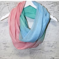 Rainbow Dip Dye Colored Infinity Scarf
