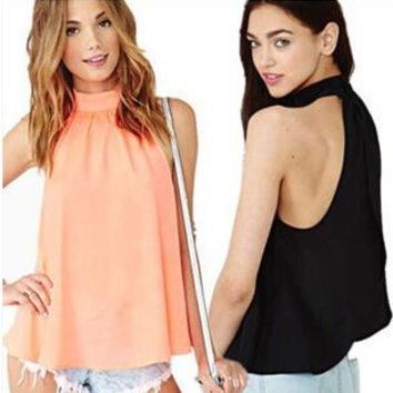 Casual Stylish Strapless Backless High Neck Sleeveless Chiffon Tops [4962094212]