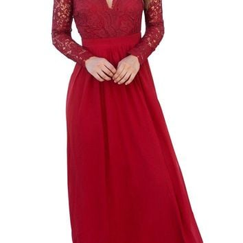 Red Open Back Long Sleeve Crochet Lace Maxi Party Dress
