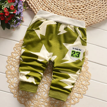 Spring Autumn Cotton Baby Pants Sport Star Pattern Baby Pants Boys Girls Harem Trousers 7-24 months