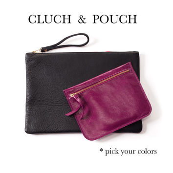 Leather clutch & pouch by Leah Lerner