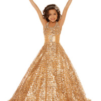 Style 42617s by Sugar Girls Pageant Dress Size 6 Gold
