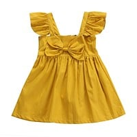 Summer Newborn Infant Kids Baby Girls Clothes bow-knot Princess Dresses Party Bow Summer Mini Dress