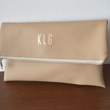 Foldover Monogrammed Clutch Purse / Bridesmaid Gift / Personalized Clutch Bag / Evening Clutch Purse