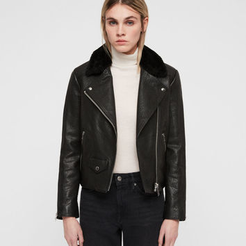 ALLSAINTS US: Womens Pataya Leather Lux Biker Jacket (black)