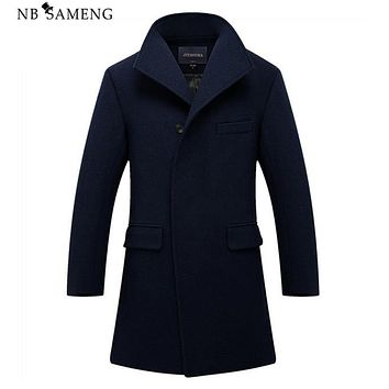 New Man Long Trench Coat Wool Coat Winter Peacoat Men's Wool Coat Mens Overcoat Men's Coats Male Clothing M-2XL 13W0270