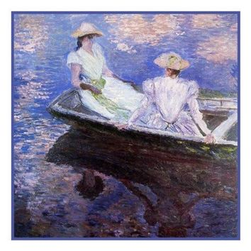 Young Girls in a Row Boat inspired by Claude Monet's impressionist painting Counted Cross Stitch or Counted Needlepoint Pattern