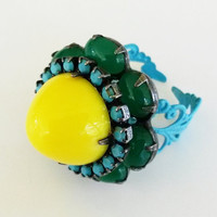 Yellow Turquoise Green Bullet Dome Lucite Adjustable Statement Ring OOAK RePurposed Colorful