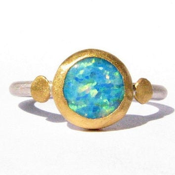 Opal Ring - 24k Solid Gold and Silver Ring - Made to Order by Your Size.