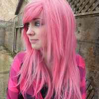 ON SALE Tickle Me Pink /  Cotton Candy Pink Blend / Long Straight Layered Wig