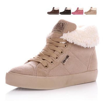 Hot Selling Winter Sneakers For Women Female Height Increasing Cotton-padded Platform Sneakers Ladies Casual Winter Canvas Shoes