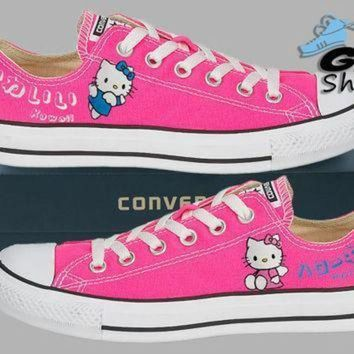 QIYIF hand painted converse lo hello kitty sanrio anime kawaii pink handpainted shoes