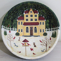 Cardinals at Bird Feeder Hand Painted Wood Bowl, Winter Primitive Landscape, Rabbits, Squirrels, Saltbox House, Pine Trees,  MADE TO ORDER