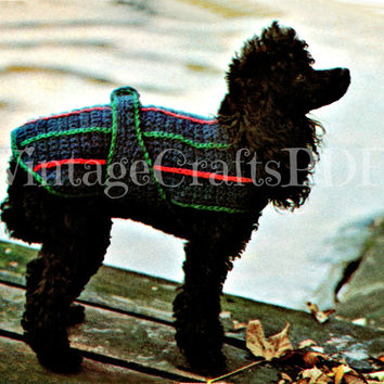 Small Dog Striped Jacket Vintage 1970s Crochet Pattern Dog Jacket Puppy Coat Pooch Coat Sweater Free Gift Stylin' Stripes Vintage Beso