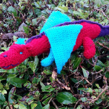 Red blue and purple crochet stuffed dragon toy, amigurumi dragon doll