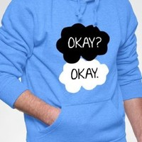 "BeWild Brand - ""Okay? Okay."" Quote Adult Hoodie #1625-PS (Adult Medium, Light Blue)"