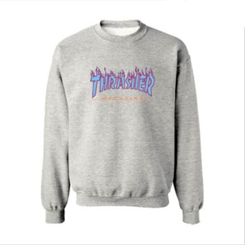 Fall and Winter Thrasher Flame Skateboard Tide Death Hip Hop West Coast Harajuku cotton round neck sweater Blue letters