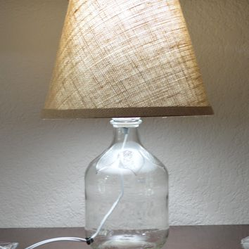 Clear Glass Fillable Bottle Lamp with Burlap Fabric Shade
