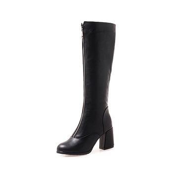 Tall Boots Winter Shoes Chunky Heels for Woman 3455