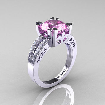 Modern Vintage 14K White Gold 3.0 Carat Light Pink Sapphire Diamond Solitaire Ring R102-14KWGDLPS