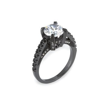 Women's 4.5 CTW Cubic Zirconia .925 Sterling Silver Black Engagement Ring
