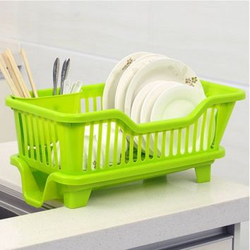 AUCH New/Durable/Useful AntiMicrobial Plastic In-Sink Dish Rack/Drainer/Sink/Dishpan,Small,Green