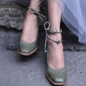 Lace Up Square Toe Leather Flats