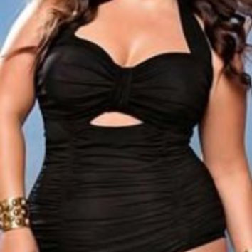 Plus Size Halter Sleeveless Solid Color Cut Out Swimwear