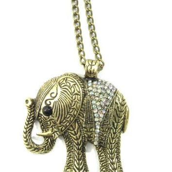 Elephant Necklace Ice Clear Crystal Animal NC19 Tribal Vintage Charm Pendant Aurora Borealis