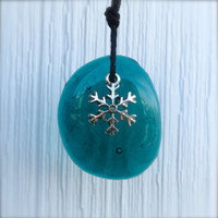 Glass Necklace Snowflake  by  The Wild Willows