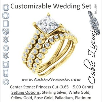 CZ Wedding Set, featuring The Roxana engagement ring (Customizable Princess Cut Design with Beaded-Bezel Round Accents on Wide Split Band)
