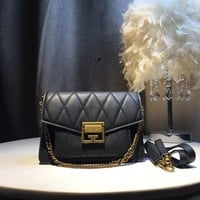 Kuyou Gb59812 Givenchy New Gv3 Bag Black Shoulder Bag In Box Leather With Metal Clasp  22¡Á15cm