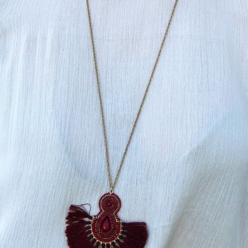 No Other Way Necklace: Burgundy/Gold