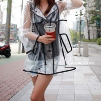 Fashion clear PVC women Mens Girls Boys Rain Coat